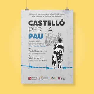 """Diseño de la campaña """"Castelló per la Pau"""". Fons Valencià."""